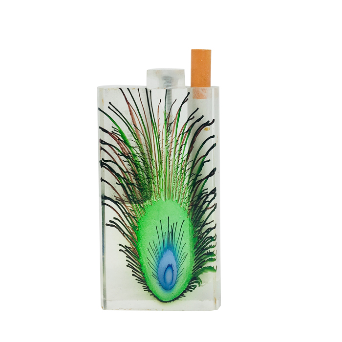 Large Peacock Feather Acrylic Dugout