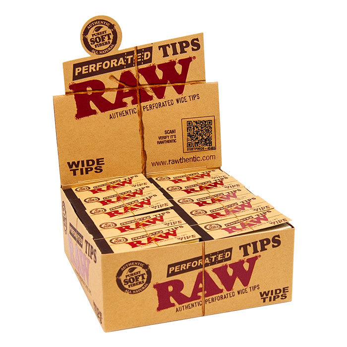 RAW PERFORATED WIDE TIPS 50 PER BOX