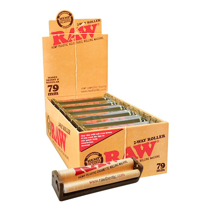 RAW HEMP PLASTIC CIGARETTE ROLLING MACHINE 79MM 12 PER DISPLAY
