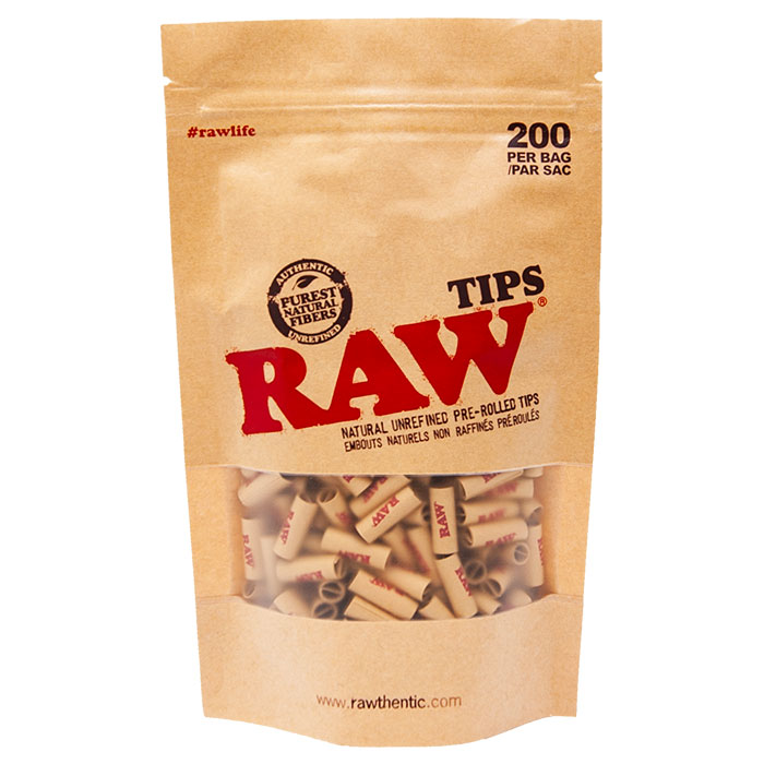 RAW PRE-ROLLED UNBLEACHED TIPS  BAG 200
