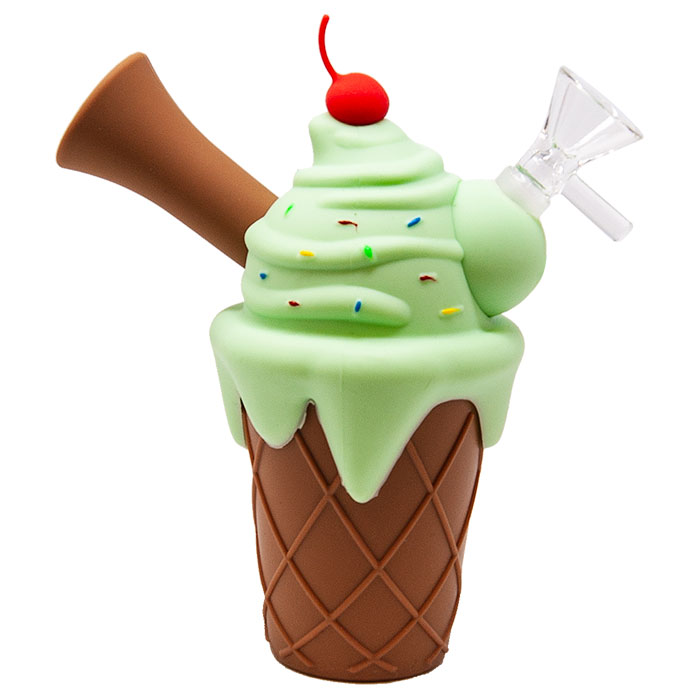 Green Ice Cream Cone Silicone Pipe