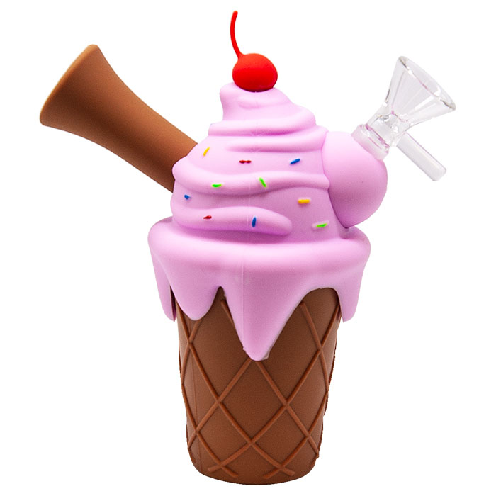 Pink Ice Cream Cone Silicone Pipe