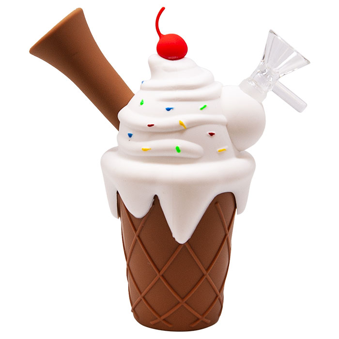 White Ice Cream Cone Silicone Pipe
