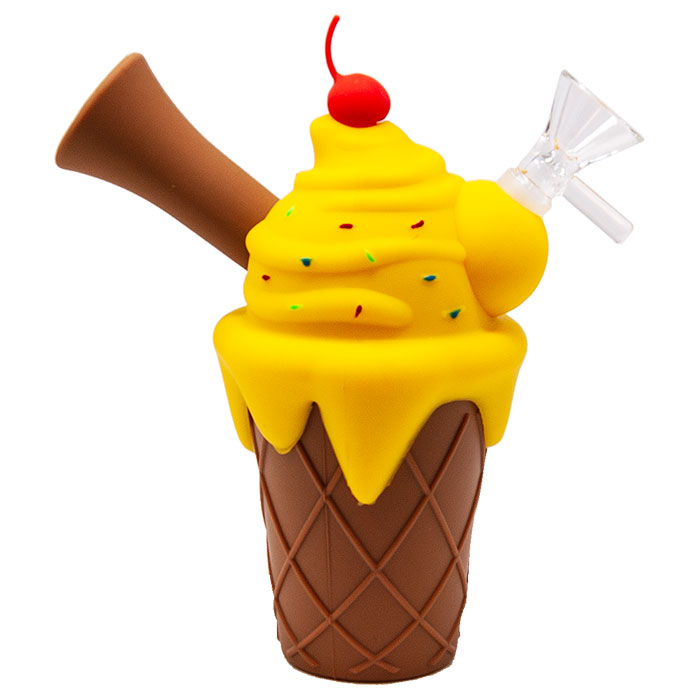 Yellow Ice Cream Cone Silicone Pipe
