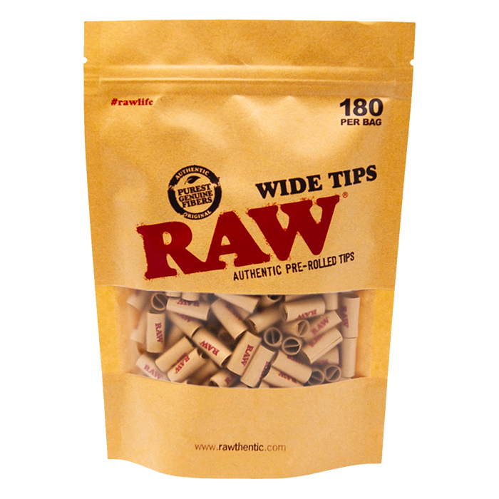 Raw Pre-Rolled Wide Unbleached Tips 180 Per Bag