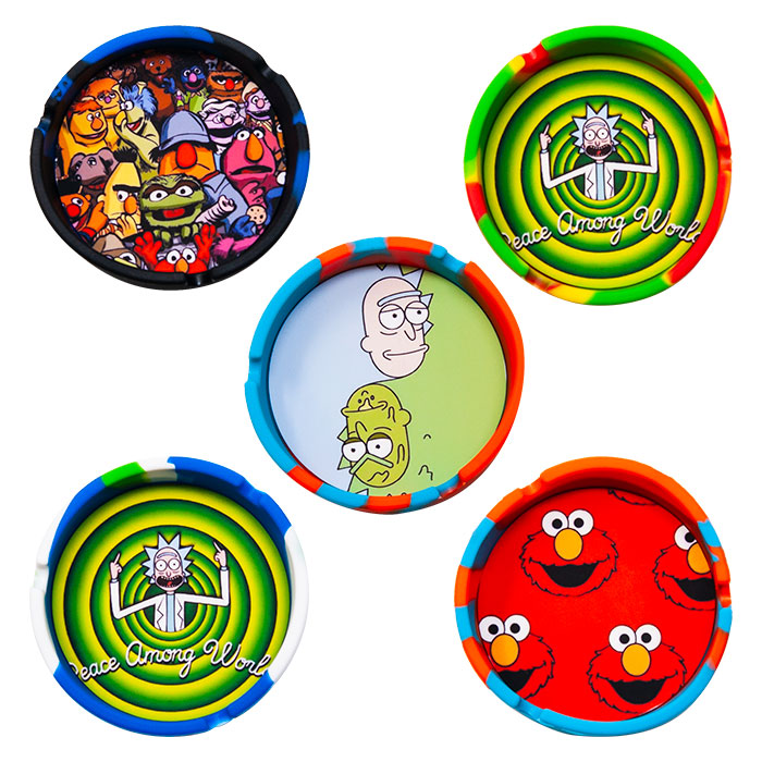 Circular Shaped Funny Picture Silicon Ashtray