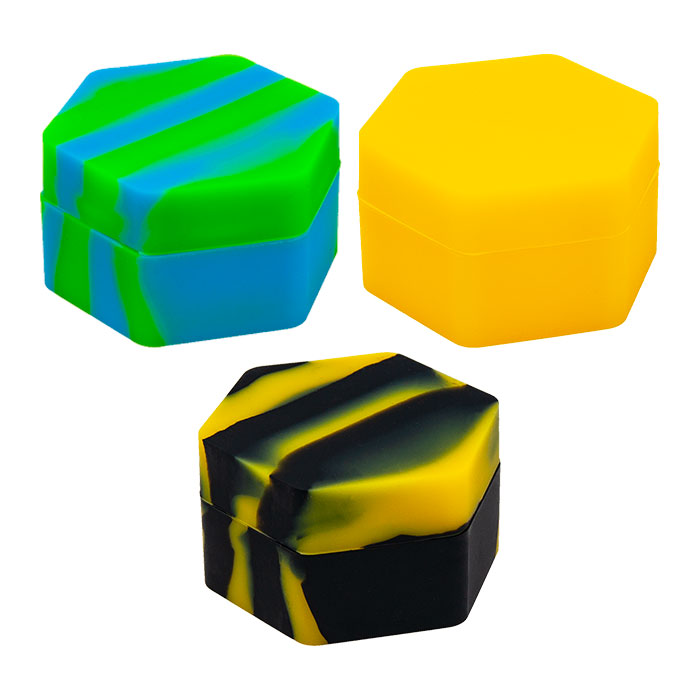 Hexagonal Shaped Assorted Color Silicone Container