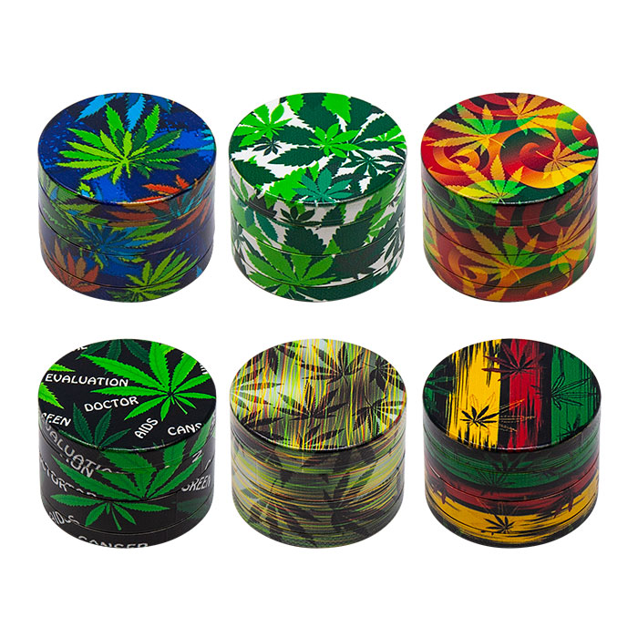 Rasta Leaf 4 Stage Grinder Display Of 12