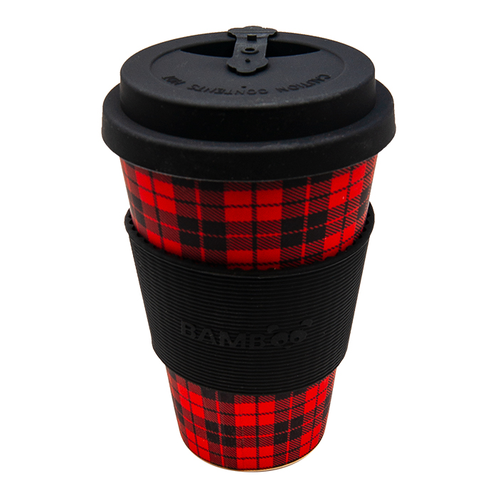 Plaid Design Red And Black Bamboo Mug
