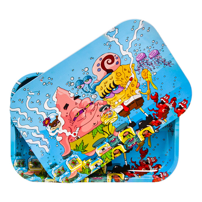 Sponge Bob And Patrick Star Medium Rolling Tray With Lid