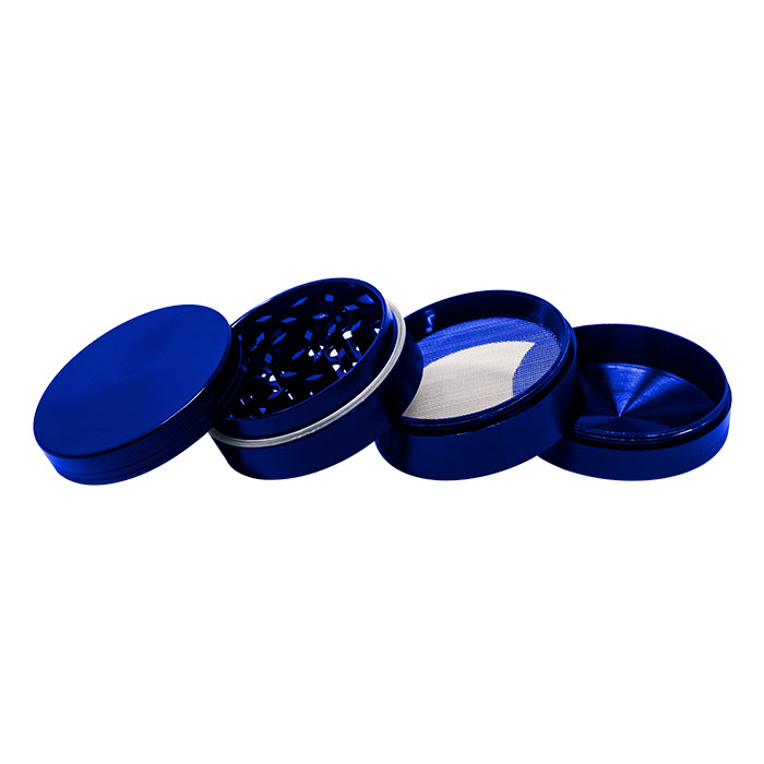Blue  Plain Aluminium Grinder 56MM