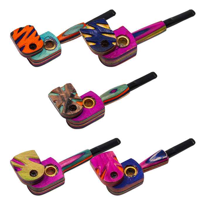 Colorful Wooden Flip Pipe 4.5 Inches
