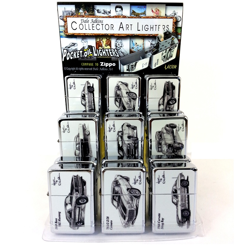 VICTOR ZIPPO STYLE CARS LIGHTERS DISPLAY OF 18