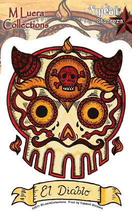 EL DIABLO DAY OF THE DEAD SKULL STICKER