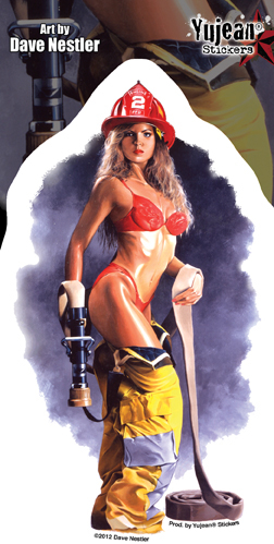 FIREFIGHTER PINUP STICKER