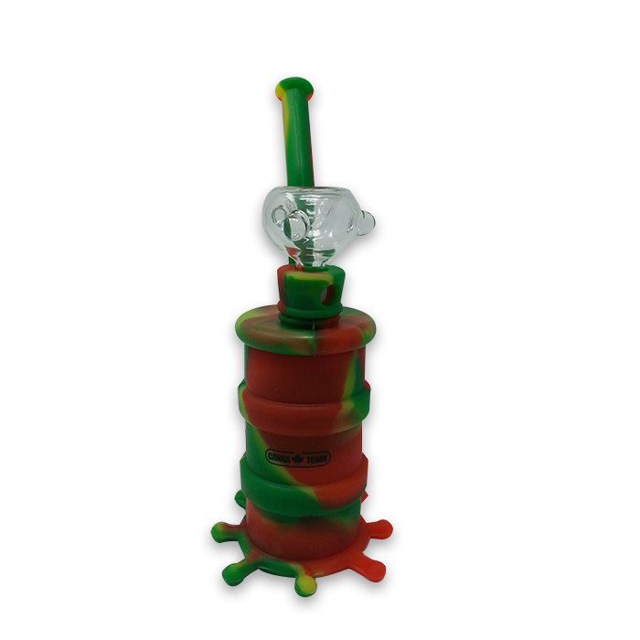 CANNATONIK Silicone OCTOPUS GREEN RED BONG