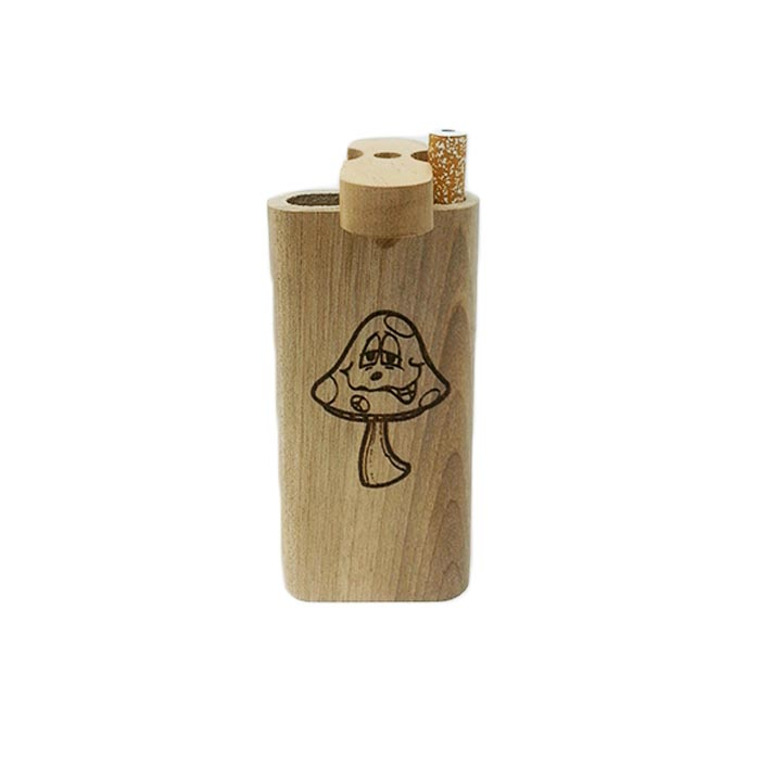 "LAUGHING MUSHROOM WOODEN DUGOUT 4"" INCHES"