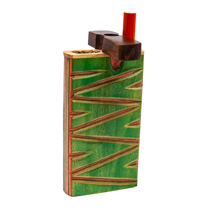 ZIG ZAG WOODEN GREEN DUGOUT WITH INLAY WORK 4 INCHES