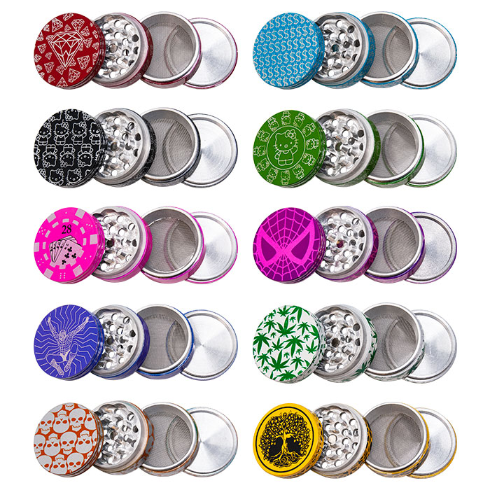 ASSORTED PICTURES ALUMINIUM GRINDER 50 MM DISPLAY OF 10